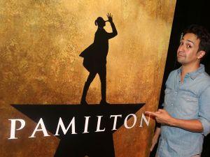 """Lin-Manuel Miranda poses at the parody of """"Hamilton"""" called Spamilton."""