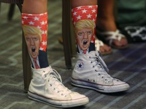 MIAMI BEACH, FL - AUGUST 11: Republican presidential nominee Donald Trump socks are seen as he speaks during an address to the National Association of Home Builders at the Fontainebleau Miami Beach hotel on August 11, 2016 in Miami Beach, Florida. Trump continued to campaign for his run for president of the United States.