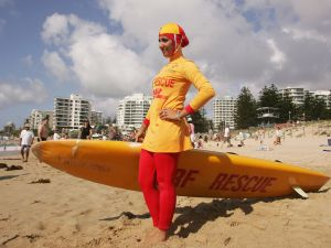 SYDNEY, AUSTRALIA - FEBRUARY 04: Mecca Laa Laa wears a 'Burqini' on her first surf lifesaving patrol at North Cronulla Beach February 4, 2007 in Sydney, Australia.