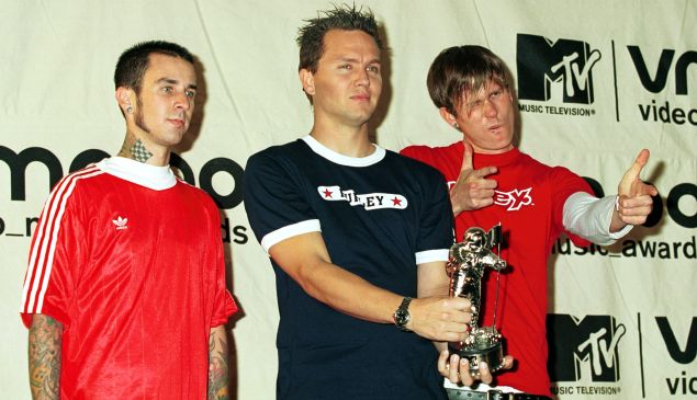 Blink 182 win Best Group Video September 7, 2000 at the MTV Awards at Radio City Music Hall in New York City.
