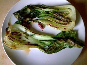 Grilled bok choy with soy.