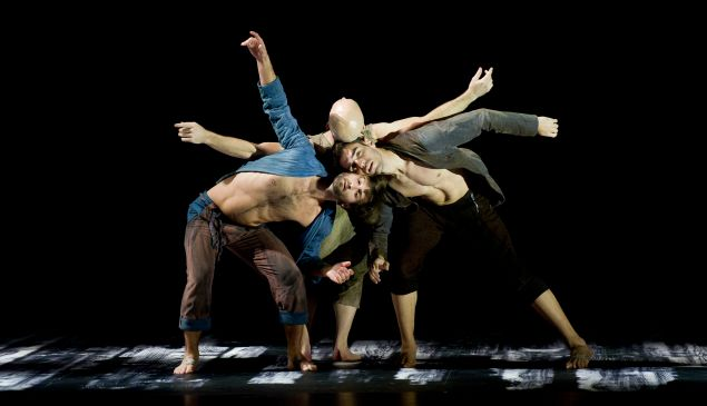 L.A. Dance Project dancers Aaron Carr, Charlie Hodges, and Morgan Lugo in Harbor Me by Siddi Larbi Cherkaoui.