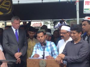 Mayor Bill de Blasio at the prayer service in Brooklyn.