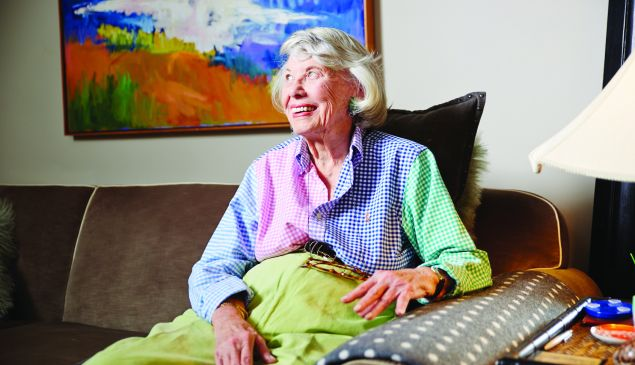 Gossip columnist Liz Smith, 93, in a friend's brownstone on the Upper East Side.