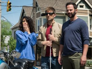 Jenny Slate as Rose, Adam Scott as Robbie, and Nick Kroll as Bill in MY BLIND BROTHER. Photographer: Tiffany Laufer