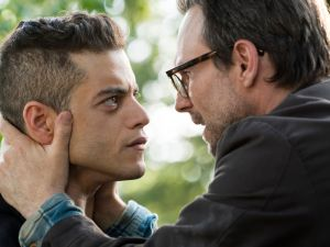 Rami Malek as Elliot Alderson and Christian Slater as Mr. Robot.