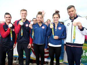 (l-r) US Olympians David Boudia, Steele Johnson, Kathleen Baker, Katie Meili and David Plummer.