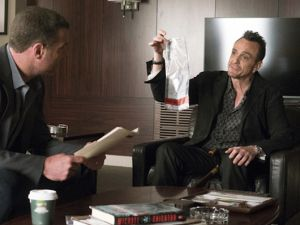 Liev Schreiber as Ray Donovan and Hank Azaria as Ed Cochran in Ray Donovan.