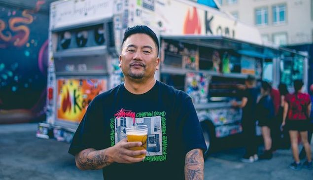 Roy Choi grabs a beer at The Container Yard