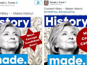 "STAR OF DAVID OR 'PLAIN STAR'? If you thought ""CP Time"" was impolitic, on July 2 Donald Trump posted a picture on Twitter of a Star of David on top of a pile of cash next to Hillary Clinton's face. You'd think after the aforementioned crime stats incident (or after engaging a user called ""@WhiteGenocideTM,"" or blasting out a quote from Benito Mussolini, or...) Trump would have learned to wait a full 15 seconds before hitting the ""Tweet"" button. But not only was the gaffe itself bad, the attempts at damage control made the BP oil spill response look a virtuoso performance. About two hours after the image went up on Trump's account, somebody took it down and replaced it with a similar picture that swapped the hexagram with a circle (bearing the same legend ""Most Corrupt Candidate Ever!""!). Believe it or not, it actually got worse from there. As reports arose that the first image had originated on a white supremacist message board, Trump insisted that the shape was a ""sheriff's star,"" or ""plain star,"" not a Star of David. And he continued to sulk about the coverage online and in public for days afterward, even when the media was clearly ready to move on. This refusal to just let some bad press go would haunt him later on."