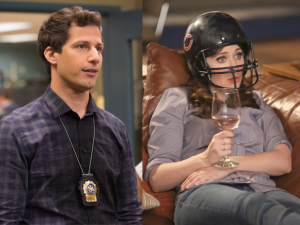 Andy Samberg in Brooklyn Nine-Nine, Zooey Deschanel in New Girl.