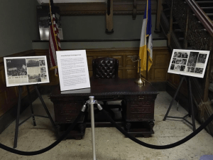 Longtime Jersey City mayor Frank Hague's custom desk, which had a two-way drawer installed for kickbacks. Click through to see who else made the list.