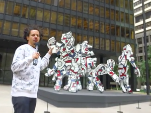 Eric André with Jean Dubuffet's Welcome Parade at the Seagram Building on Park Avenue.