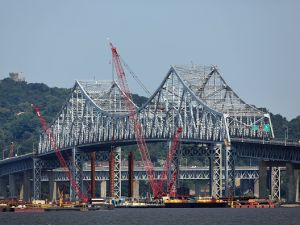 Construction on the new Tappan Zee Bridge has reached the halfway point.