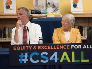 Mayor Bill de Blasio and Schools Chancellor Carmen Fariña.