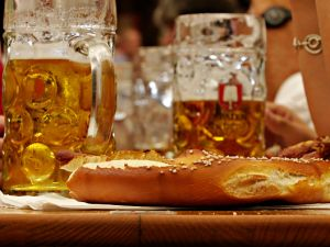 Brezen bread and beer in Bavaria.