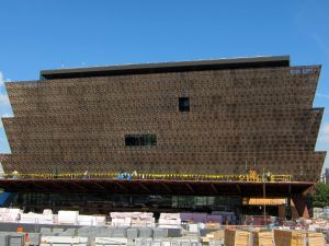 The National Museum of African American History and Culture, while under construction.
