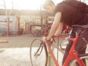 Locking up a bike in Atlanta.