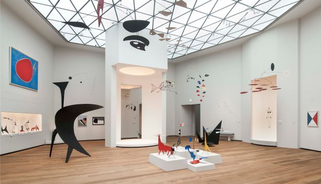 Installation view of Alexander Calder: A Survey in East Building, National Gallery.