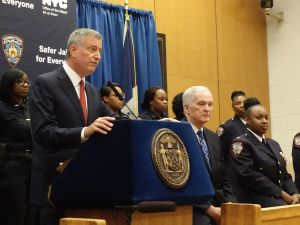 Mayor Bill de Blasio and Commissioner Joseph Ponte on Rikers Island today.
