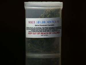 A container of medical marijuana displayed in Los Angeles, California.