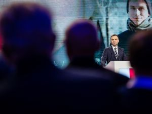 Andrzej Duda, the conservative party PiS (Law and Justice) candidate for President in the upcoming election addresses a party convection in Warsaw, Poland on February 7, 2015.