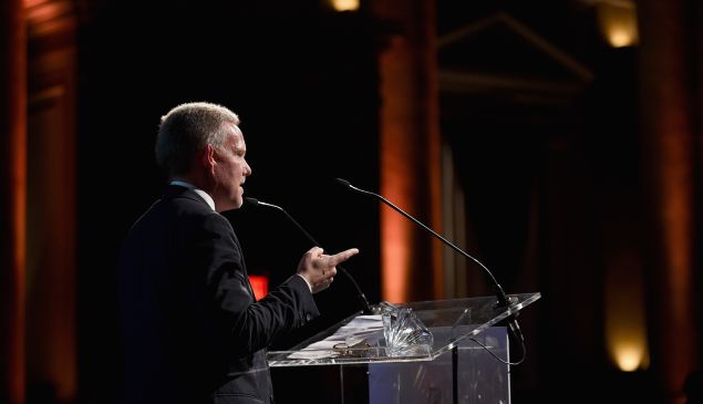 Jimmy Van Bramer speaks onstage at the Performance Space 122 2015 Spring Gala Honoring Claire Danes at Capitale on April 20, 2015 in New York City.