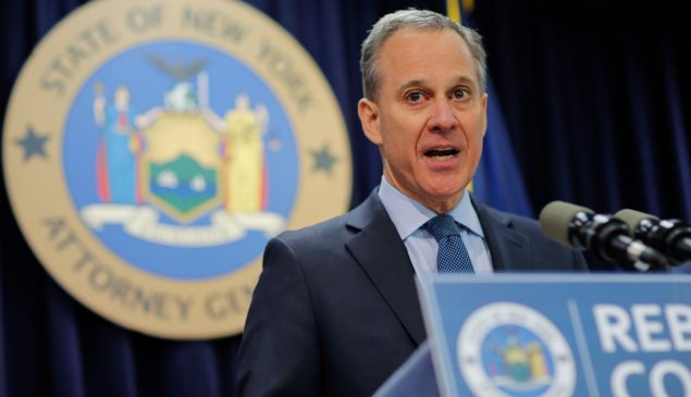 New York Attorney General Eric Schneiderman speaks at a news conference to announce enforcement action against Morgan Stanley in February 2016.