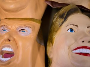 SAITAMA, JAPAN - JUNE 14: Rubber masks in the likeness of Republican presidential candidate Donald Trump, left, and Democratic presidential candidate Hillary Clinton are stacked at the Ozawa Studios Inc. factory on June 14, 2016 in Saitama, Japan