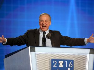 """Former Gov. Howard Dean (D-VT) reenacts his Iowa Caucus """"Dean Scream"""" moment during closing remarks on the second day of the Democratic National Convention at the Wells Fargo Center, July 26, 2016 in Philadelphia"""