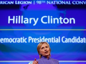 CINCINNATI, OH - AUGUST 31: Democratic presidential nominee Hillary Clinton speaks at the American Legion Convention August 31, 2016 in Cincinnati, Ohio. Clinton spoke about her vision for America's military and foreign policy.