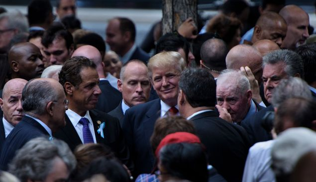 Former Mayor Rudolph Giuliani, Gov. Andrew Cuomo, Donald Trump and New Jersey Gov. Chris Christie.