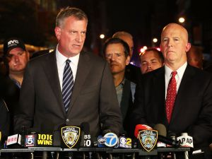 Mayor Bill de Blasio and Police Commissioner James O'Neill after the Chelsea bombing.