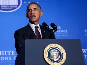 U.S. President Barack Obama speaks at the 2016 White House Tribal Nations Conference at the Andrew W. Mellon Auditorium on September 26, 2016 in Washington, DC.