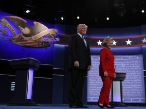 Donald Trump and Hillary Clinton on stage at Hofstra University for the first Presidential debate of the 2016 general election.