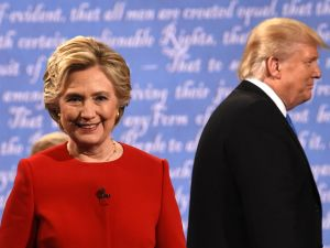 Hillary Clinton and Donald Trump after the first presidential debate. The winner in this election is not yet known. But the loser is the entire profession of journalism.