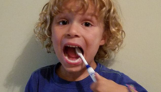 The author's son, brushing his teeth for the camera.