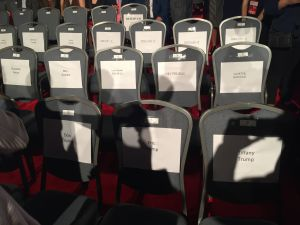 Seats reserved for Sheldon Adelson.