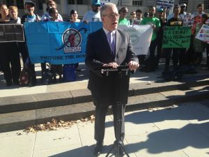 Comptroller Scott Stringer speaks at a press conference blasting the number of vacant properties in the city.