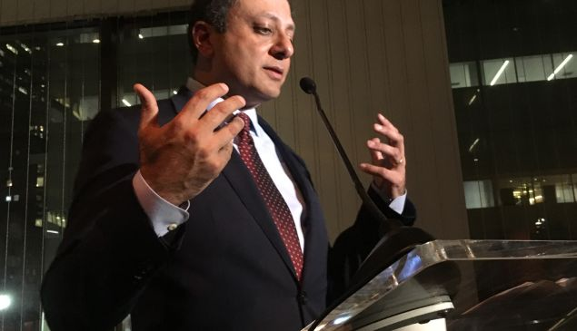 U.S. Attorney Preet Bharara speaks at City & State's 10th anniversary gala in Midtown.