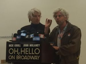George St. Geegland (John Mulaney) and Gil Faizon (Nick Kroll) held a press conference today for their Broadway debut of Oh, Hello at the New 42nd St. Studios.