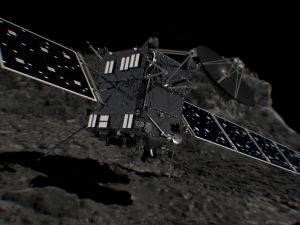 Artist's impression of the Rosetta space probe shortly before hitting Comet 67P/Churyumov–Gerasimenko on 30 September 2016