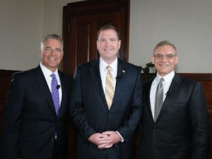 Adubato, left, and PiRoman, with Senator Michael Doherty (R-Warren) (center).