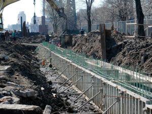 Construction at John V. Lindsay East River Park.