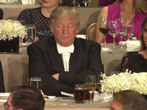 Donald Trump at the Alfred E. Smith dinner.