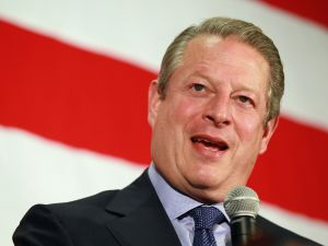 TAMPA, FL - SEPTEMBER 30: Former Vice President Al Gore speaks as he campaigns for Florida Democratic Senatorial candidate Rep. Kendrick Meek (D-FL) during a rally at the Tampa Letter Carriers Hall on September 30, 2010 in Tampa, Florida. Meek is facing off against Republican candidate Marco Rubio and Independent candidate Florida Governor Charlie Crist.