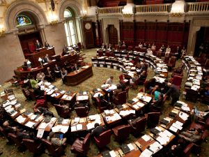 The New York State Senate debates legislation in the Senate chamber on June 16, 2011 in Albany, New York.