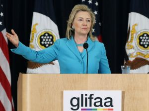 Then-U.S. Secretary of State Hillary Clinton speaks about human rights during a event co-hosted by the Department of State, and Gays and Lesbians in Foreign Affairs Agencies (GLIFAA), at the State Department on June 27, 2011 in Washington, DC. During the event Secretary Clinton was presented with the GLIFAA Equality Award