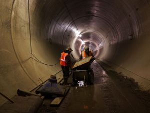 Workers in a tunnel underneath Manhattan at the Second Avenue Subway project site in New York City, in 2014.