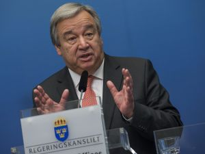 UN High Commissioner for Refugees (UNHCR) Antonio Guterres speaks during a news conference at the Swedish government headquarters Rosenbad in Stockholm, Sweden, on February 3, 2015. The UN General Assembly will accept Guterres as the next Secretary General this week.